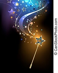 magical golden wand with golden stars on a black background.