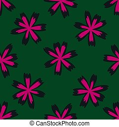 Bright pink meadow flowers seamless doodle pattern. Green dark background. Decorative print.