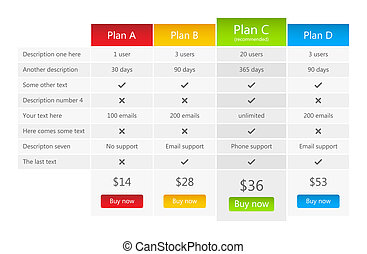 Bright pricing table with 4 plans and one recommended