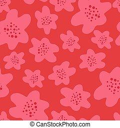 Bright random pink flower silhouettes seamless doodle pattern. Red background. Garden bloom print.