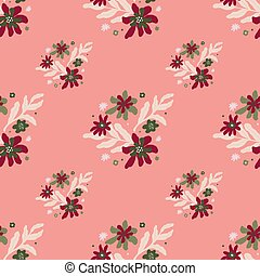 Bright red flowers and light leaves seamless doodle pattern. Pink pastel background. Cartoon flora print.