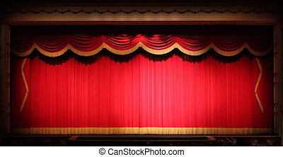 Bright Stage Theater Drape Background With Yellow Vintage Trim