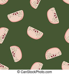 Bright summer random seamless food pattern with apple slices. Vegetarian pink fruits on green background.