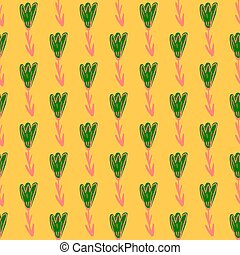 Bright summer seamless doodle pattern with green and pink colored tulip print. Yellow background.