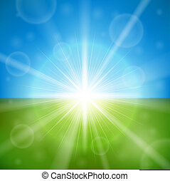 Bright summer sun vector background.