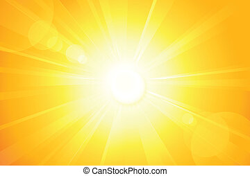 Summer background with a magnificent summer sun burst with lens flare. Space for your text. EPS10