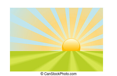 A bright yellow evening sunset or dawn sunrise shines rays on a green grass scene.