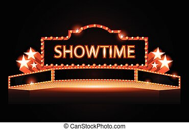 Brightly theater glowing retro vintage cinema neon sign