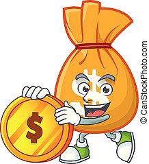 Bring coin bag of money on white background