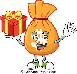 Bring gift bag of money on white background