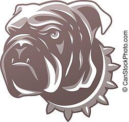 British bulldog head isolated on white background. For logo or t-shirt. Vector Illustration.