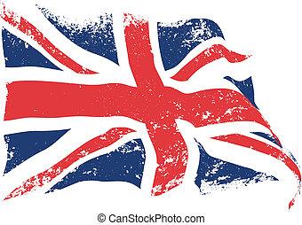 British flag grunge waving