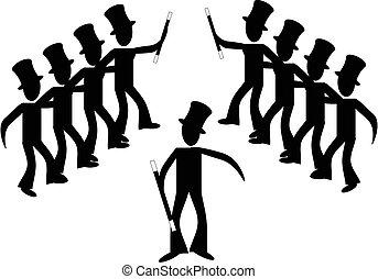 Broadway stick male line dancers...