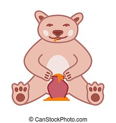 Brown bear eats honey from pot, cute vector illustration with outline