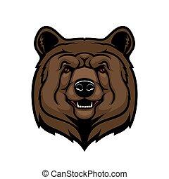 Brown bear head, animal mascot
