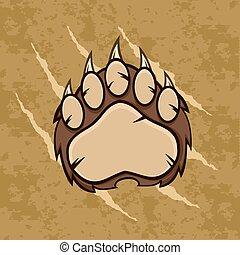 Brown Bear Paw Grunge Background