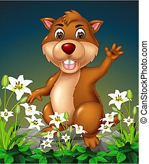 Brown Beaver On the Rock With White Flower Cartoon