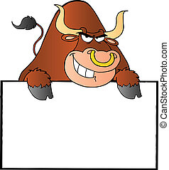 Bull Over A Sign Banner Cartoon Character