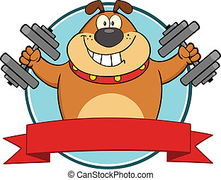 Brown Bulldog With Dumbbells Label