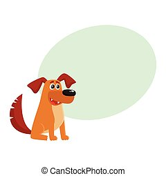 Brown funny house dog, puppy character sitting