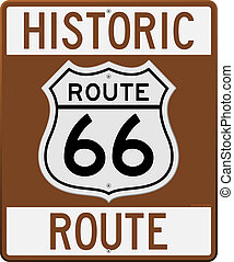 Brown Historic Route 66 Sign as Clip Art