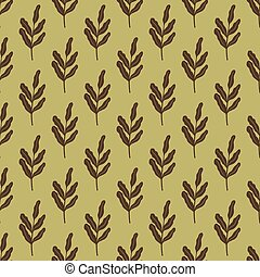 Brown leaves branches seamless doodle pattern in simple style. Light olive green background.