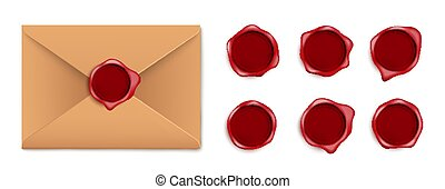 Brown letter envelope with wax seal and dark red wax stamp set