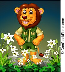 Brown Lion On the Rock With White Flower Cartoon
