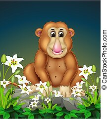Brown Monkey On the Rock With White Flower Cartoon