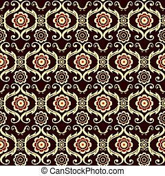 Brown seamless floral pattern (vector)