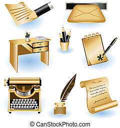 A collection of 8 different brown writing icons.