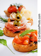 Bruschette, traditional italian appetizer food