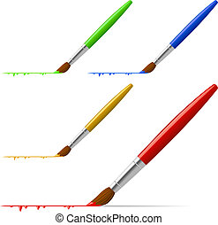 Brush painting the line with color variants isolated on white.