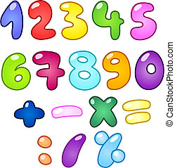 Colorful bubble-shaped numbers set