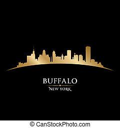 Buffalo New York city skyline silhouette black background