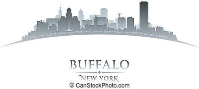 Buffalo New York city skyline silhouette white background