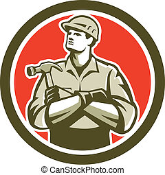 Illustration of a carpenter builder with arms crossed holding hammer set inside circle round shape on isolated background.