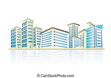illustration of cityscape with office building tower