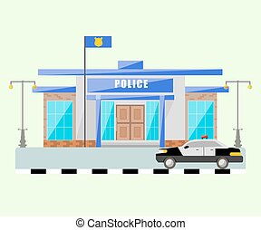 Building of police station with a car. Vector isolated object.