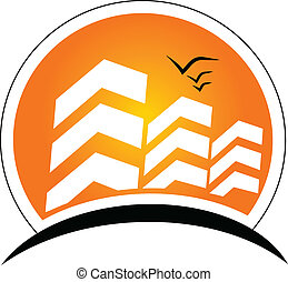 Buildings with sun Real Estate logo