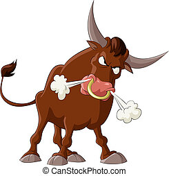 A bull with a white background, vector