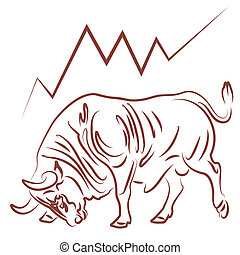 bull image and bullish stock market trend vector illustration
