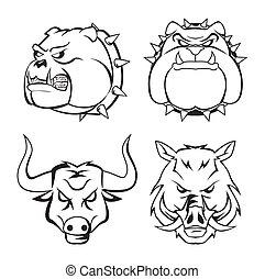 bull dog, wild boar bull heads