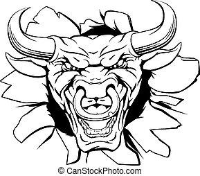 Bull mascot smashing out