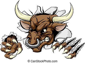 A Bull animal sports mascot breaking through a wall