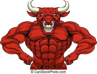 Cartoon tough mean strong red bull sports mascot