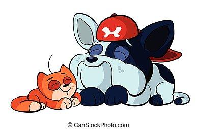bulldog and cute red cat