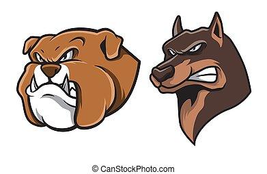 Bulldog and German Shepherd Head Mascot Illustration Vector