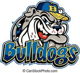 bulldog baseball mascot wearing a ball cap