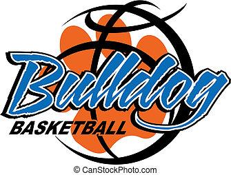 bulldog basketball design with paw print